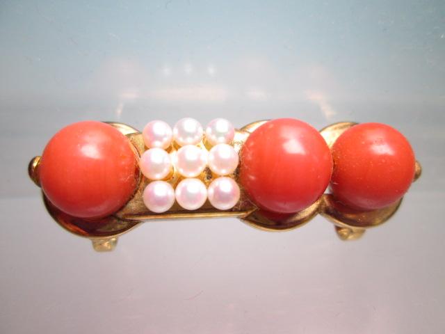 【江月】K18 本珊瑚玉 1cm&ベビーパールの美しい帯留め 12,26g_画像1