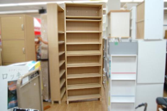 札幌市内近郊限定 無印良品 ハイタイプ収納棚 W80×D21×H212cm タモ材 ナチュラル 多目的棚 本棚 清田区_画像1