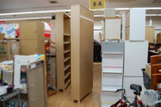 札幌市内近郊限定 無印良品 ハイタイプ収納棚 W80×D21×H212cm タモ材 ナチュラル 多目的棚 本棚 清田区_画像3