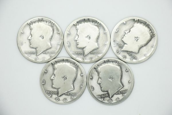 ケネディ1964 ハーフダラー 状態揃え 5枚セット(ソフト化燻し済み) 50¢ 50セント マジック 手品 コイン 銀貨 送料無料