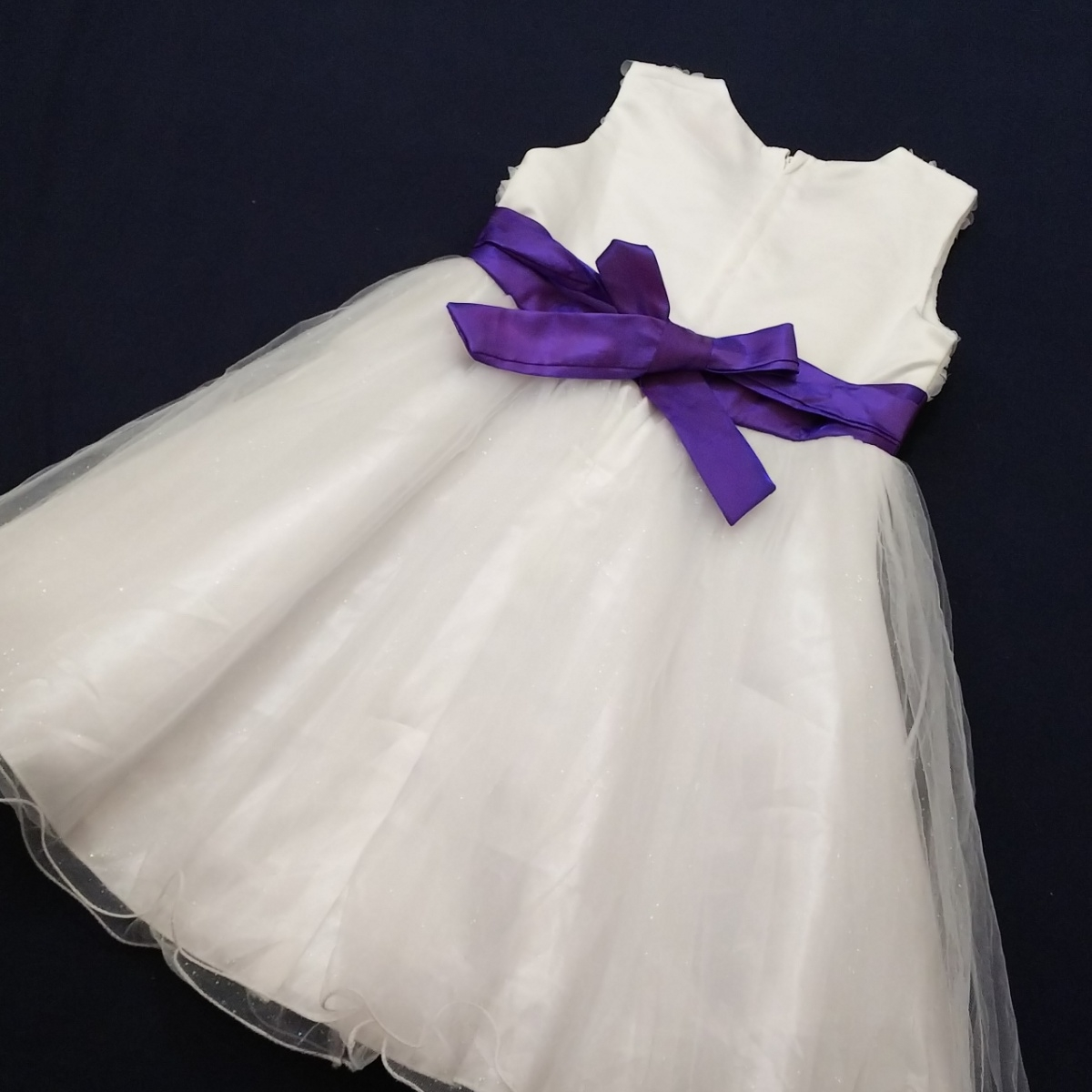 *FI5 AiMengBaby インポート 150 女の子 女子 フォーマル ドレス ワンピース ノースリーブ 白 紫 パープル 花 リボン 発表会 セレモニー_画像5