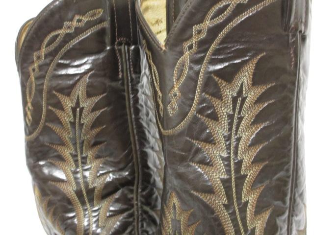 即決 TONY LAMA トニーラマ 7.5 25.5cm ウエスタンブーツ 濃茶 ダークブラウン カウボーイブーツ 刺繍ステッチアメカジ レザー メンズ S25_ステッチがおしゃれ