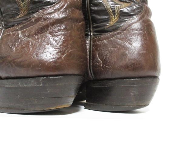 即決 TONY LAMA トニーラマ 7.5 25.5cm ウエスタンブーツ 濃茶 ダークブラウン カウボーイブーツ 刺繍ステッチアメカジ レザー メンズ S25_画像7