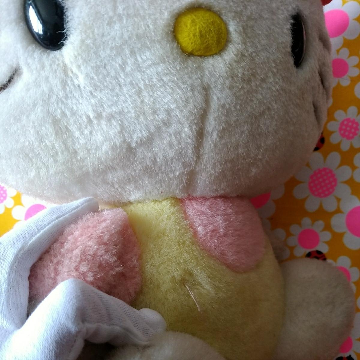 年代物 当時物 昭和 レトロ サンリオ キティ 希少 ぬいぐるみ 人形 30cm 難あり コレクション コレクター 日本製_画像7