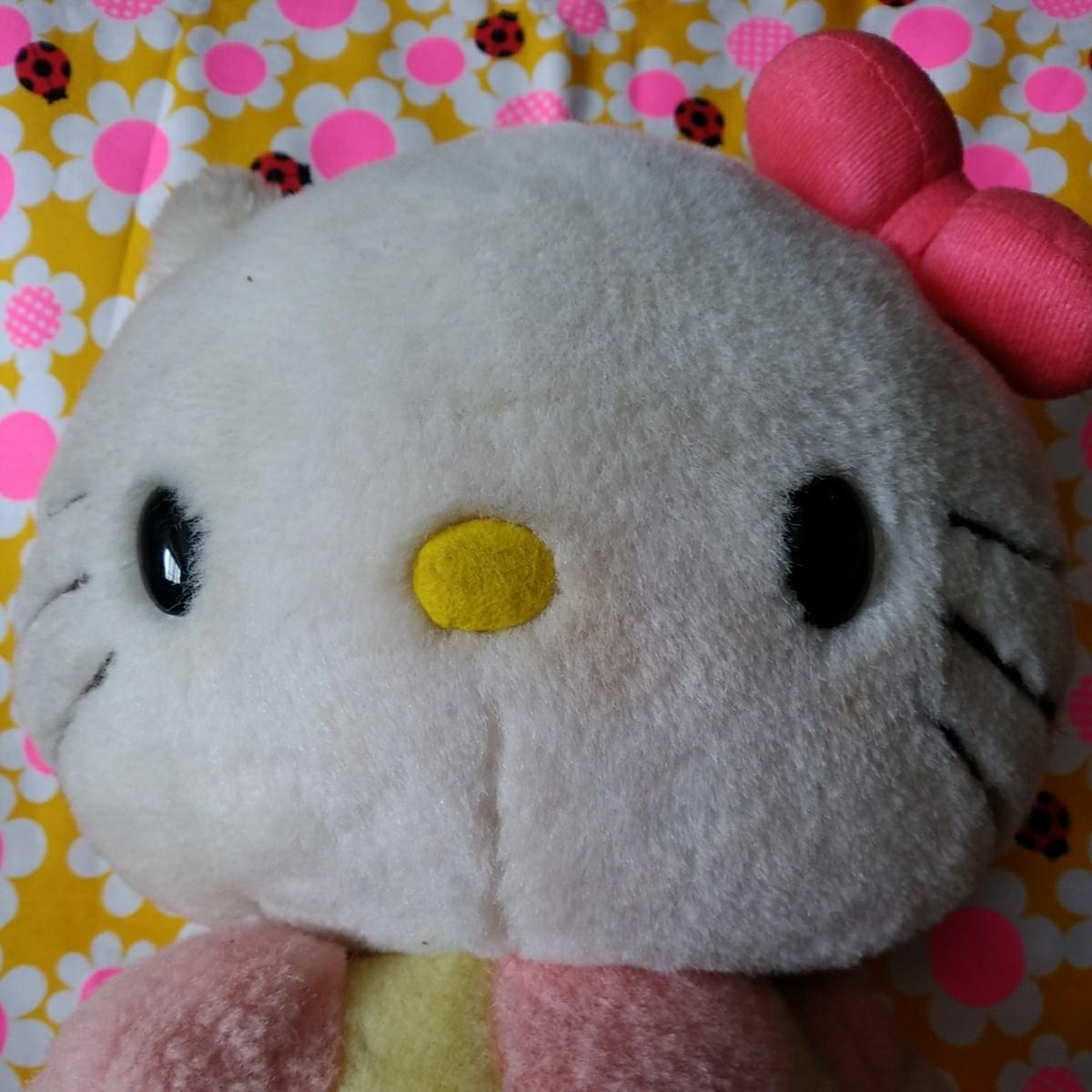 年代物 当時物 昭和 レトロ サンリオ キティ 希少 ぬいぐるみ 人形 30cm 難あり コレクション コレクター 日本製_画像10