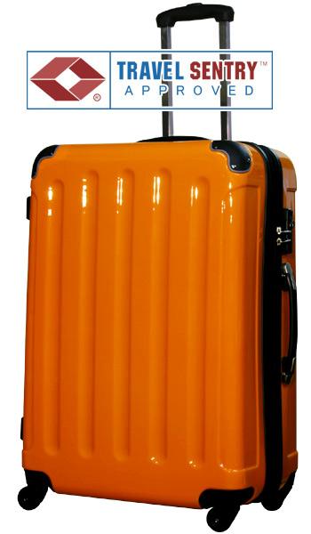 1円~N6C級アウトレット新品5780セミ大型:オレンジ/訳ありスーツケースキャリーバッグ幅拡張式TSAロック搭載軽量6泊~
