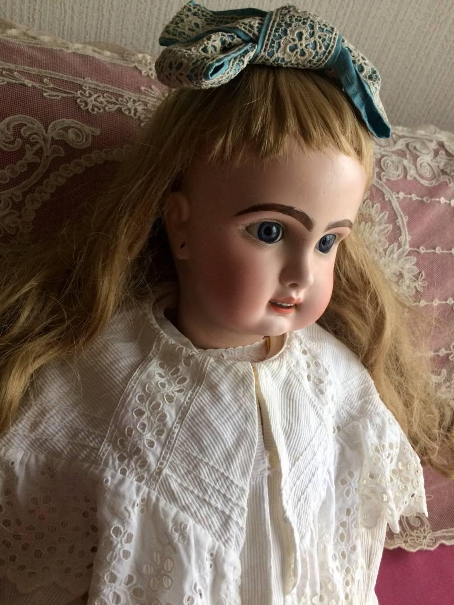 アンティークビスクドール JUMEAU ジュモー オープンマウス67㎝ まるで天使のように夢見る青い瞳...ノーブルな顔立ちの美しいお人形です_画像8
