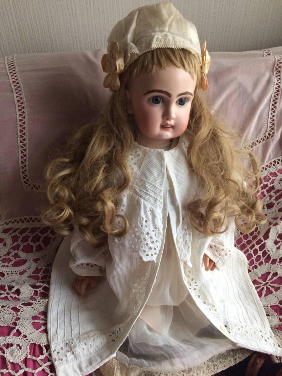 アンティークビスクドール JUMEAU ジュモー オープンマウス67㎝ まるで天使のように夢見る青い瞳...ノーブルな顔立ちの美しいお人形です_画像5