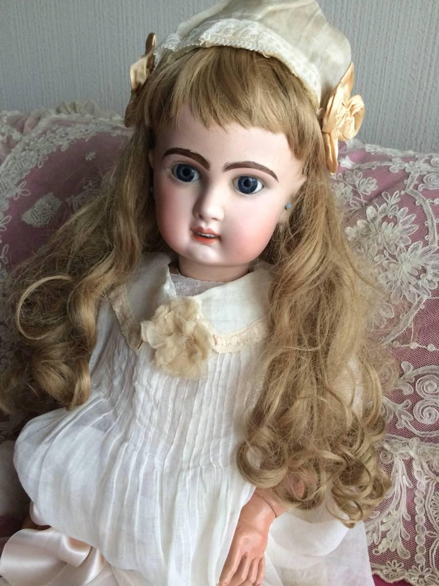 アンティークビスクドール JUMEAU ジュモー オープンマウス67㎝ まるで天使のように夢見る青い瞳...ノーブルな顔立ちの美しいお人形です_画像6
