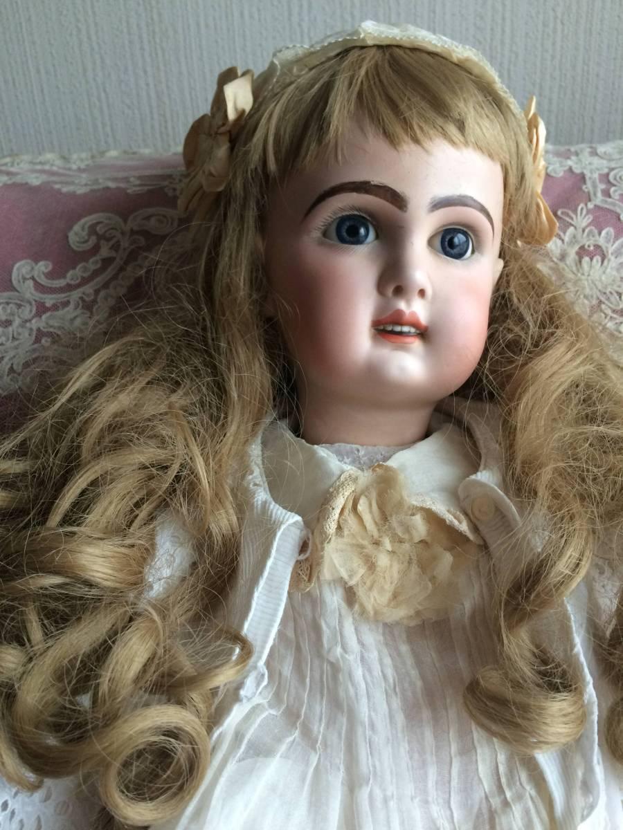 アンティークビスクドール JUMEAU ジュモー オープンマウス67㎝ まるで天使のように夢見る青い瞳...ノーブルな顔立ちの美しいお人形です_画像4