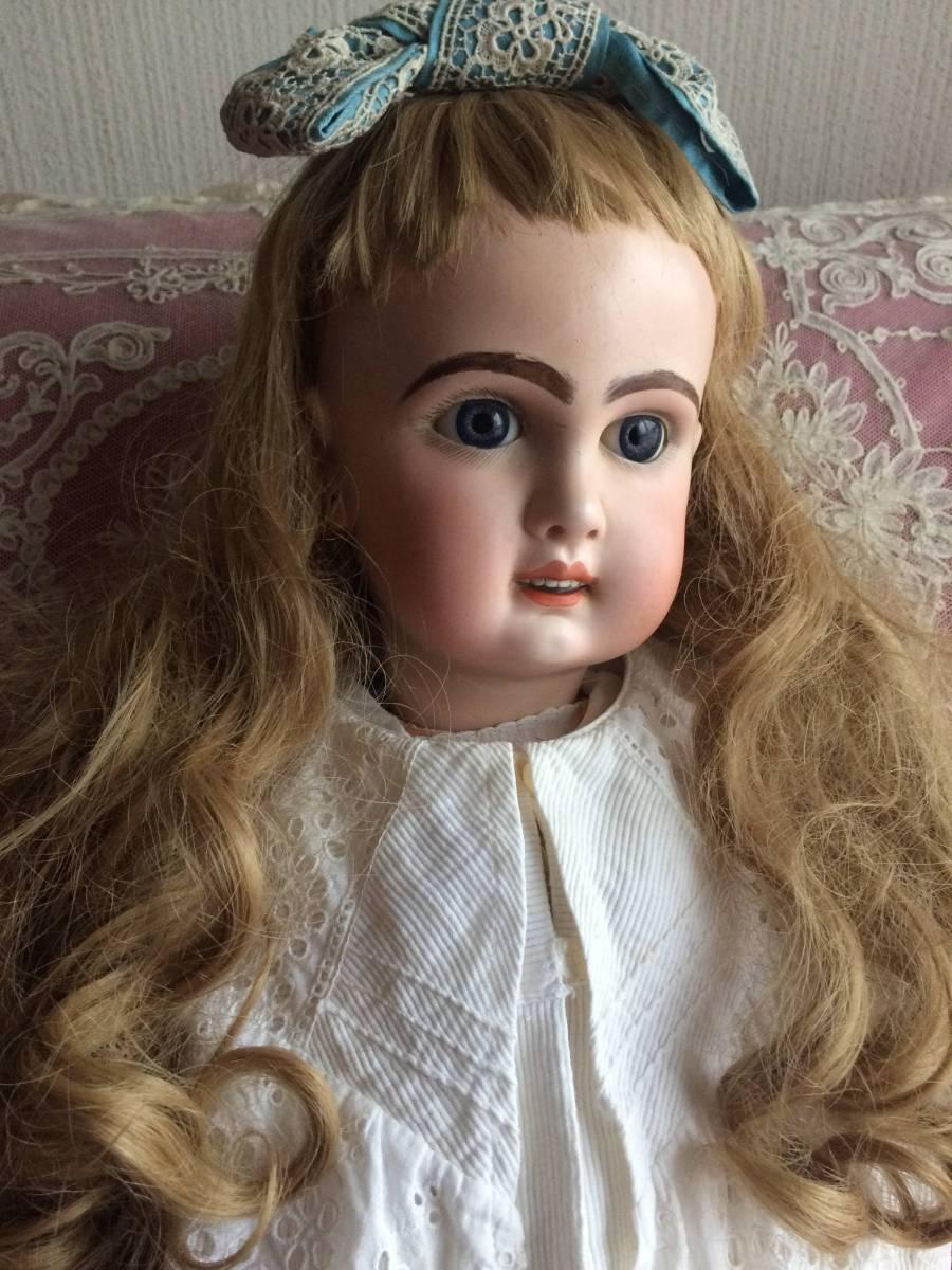 アンティークビスクドール JUMEAU ジュモー オープンマウス67㎝ まるで天使のように夢見る青い瞳...ノーブルな顔立ちの美しいお人形です_画像2