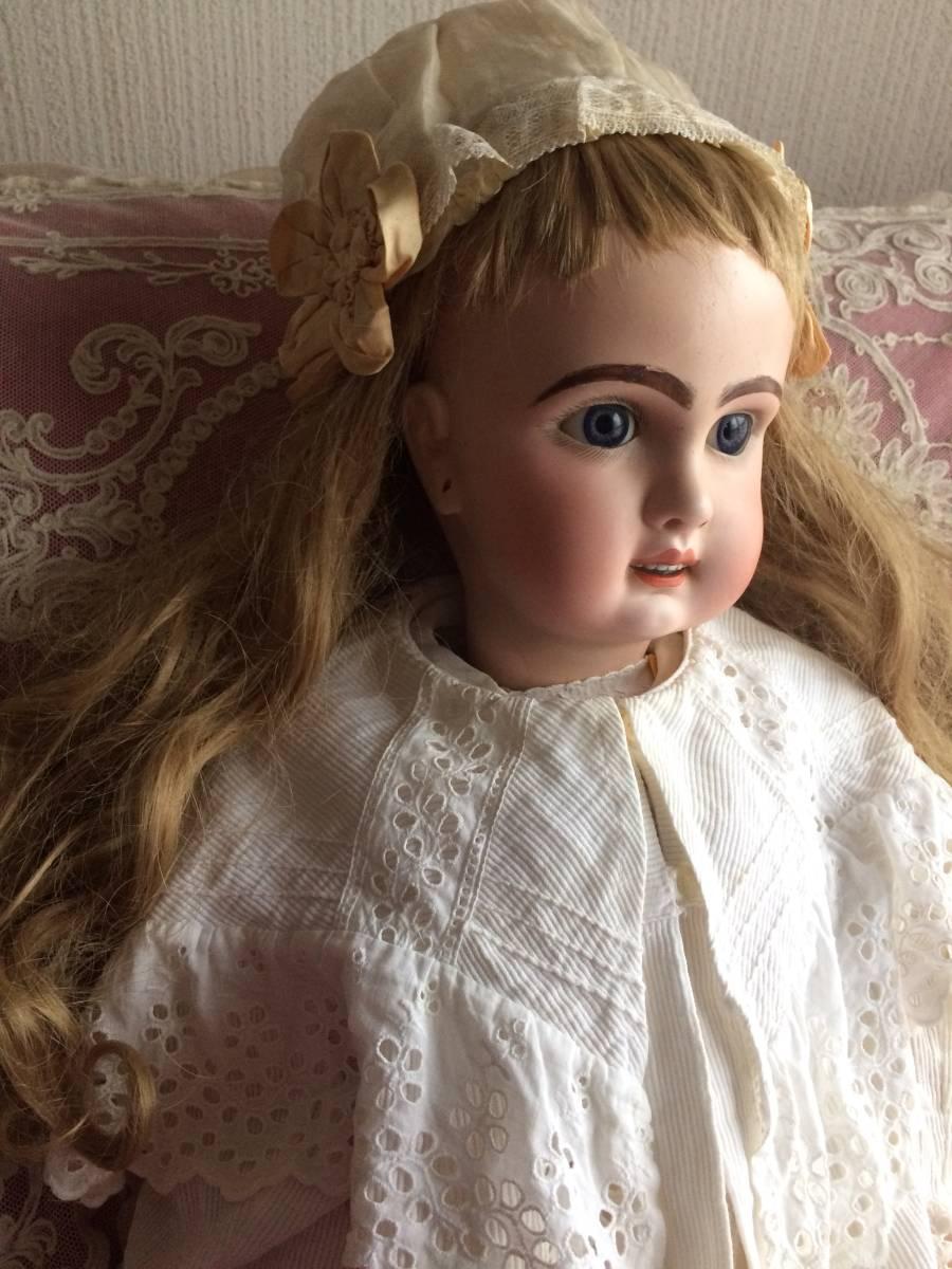 アンティークビスクドール JUMEAU ジュモー オープンマウス67㎝ まるで天使のように夢見る青い瞳...ノーブルな顔立ちの美しいお人形です_画像3