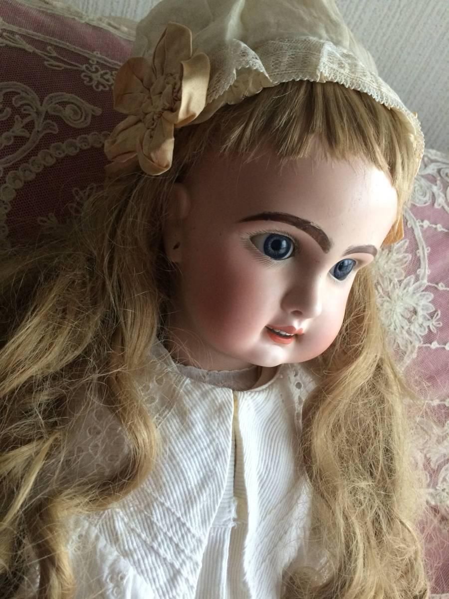 アンティークビスクドール JUMEAU ジュモー オープンマウス67㎝ まるで天使のように夢見る青い瞳...ノーブルな顔立ちの美しいお人形です