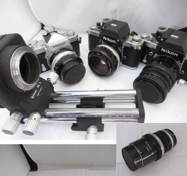 76☆ニコン FT Nikomat NIKKOR SC 50mm 1.4/F2 NIKKOR SC 55mm 1.2/F2 PC NIKKOR 35mm 2.8/NIKKOR Q 135mm 1:4/Bellows PB-4 ジャンク扱