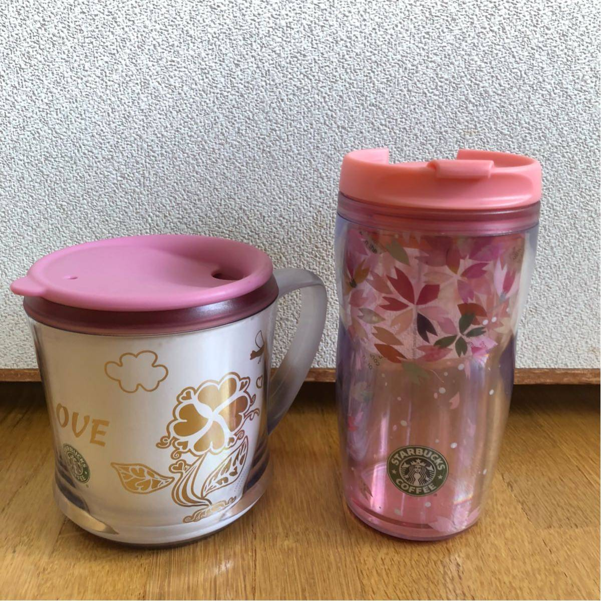 送料込み★スターバックス タンブラー&コーヒーカップ★SAKURA ピンクハート★_画像1