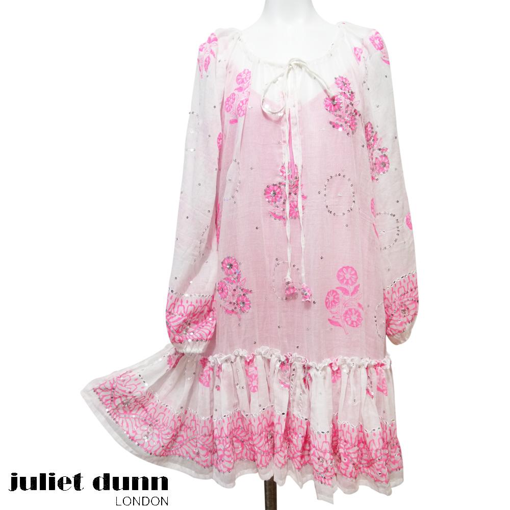 新品juliet dunn水着の上長袖チュニックワンピース蛍光ピンク