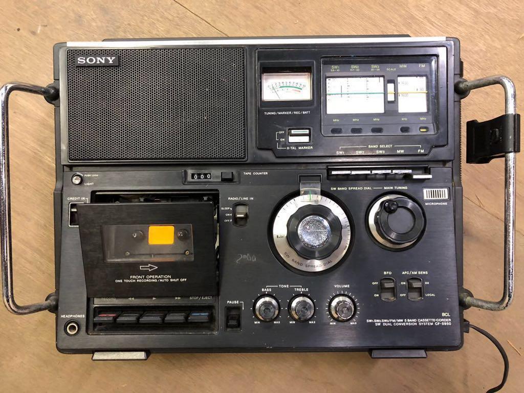 希少 通電可 カバー有り SONY カセット スカイセンサーCF-5950 ジャンク品 アンティーク ヴィンテージ 昭和レトロ ラジカセ ラジオ ソニー_画像4