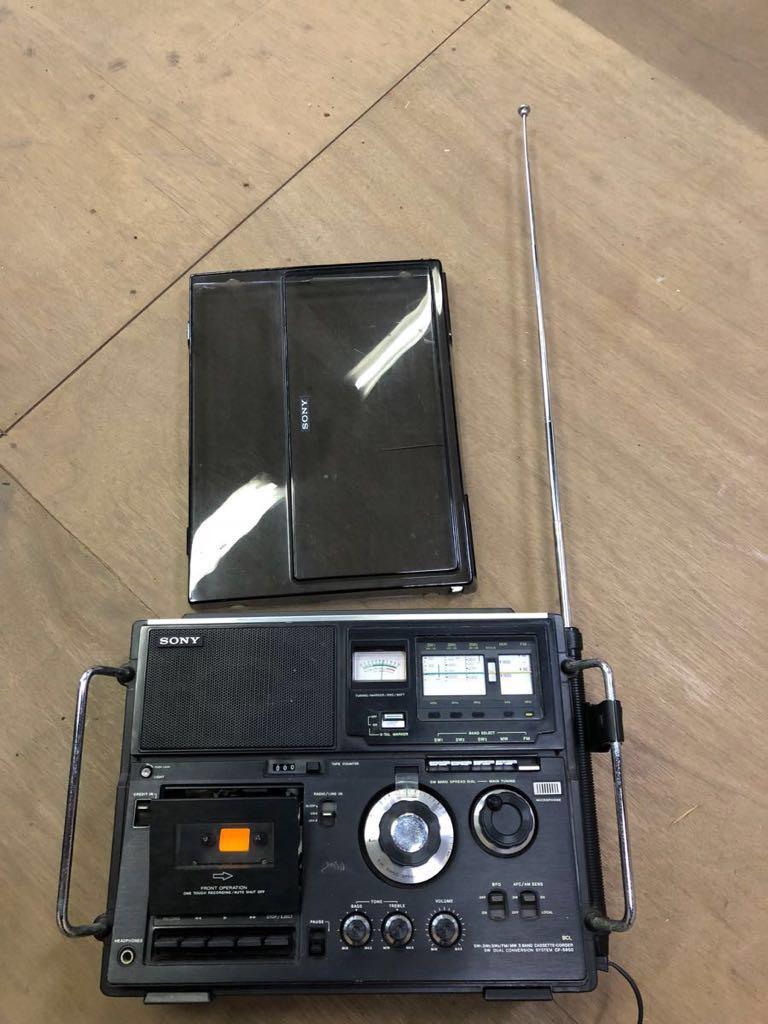 希少 通電可 カバー有り SONY カセット スカイセンサーCF-5950 ジャンク品 アンティーク ヴィンテージ 昭和レトロ ラジカセ ラジオ ソニー_画像7