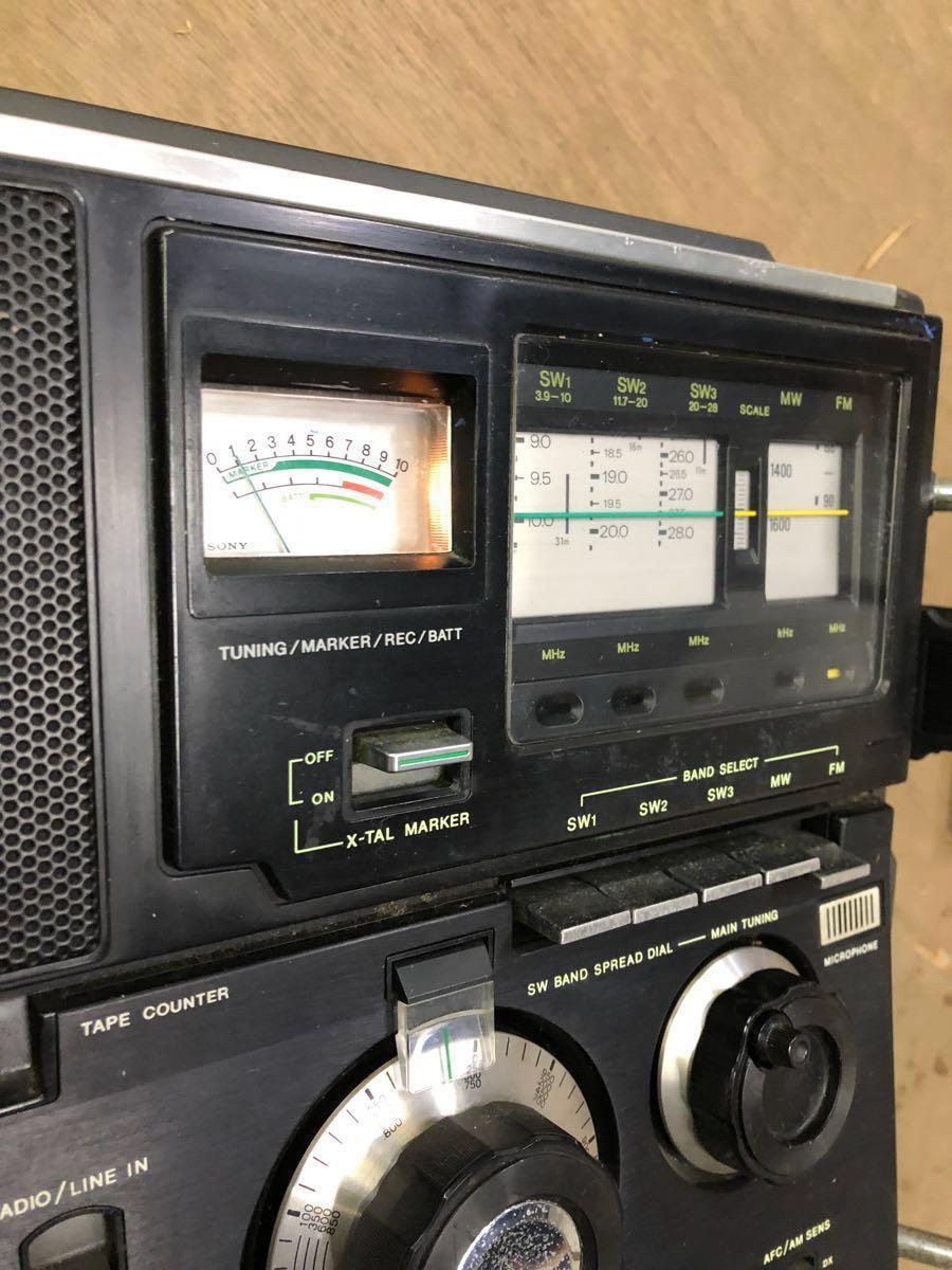 希少 通電可 カバー有り SONY カセット スカイセンサーCF-5950 ジャンク品 アンティーク ヴィンテージ 昭和レトロ ラジカセ ラジオ ソニー_画像5