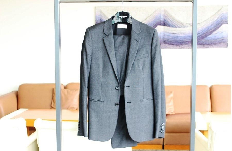 SAINT LAURENT PARIS スーツ 46 ダークグレイ 2017年購入 サンローランパリ