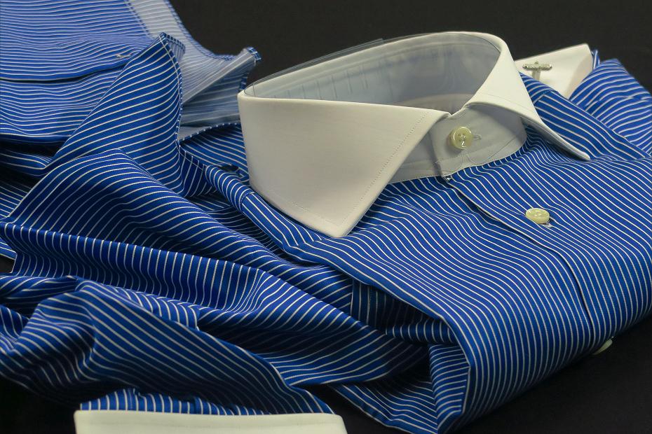 ★イタリアシャツDANROMA クレリック Wカフス NAMUR BLU VIVACE コットンを超えたコットン・魅了する光沢・・♬~ 40-90 M_画像3