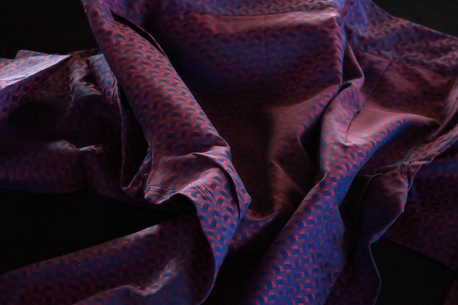 ★イタリアシャツ DANROMA COLLO APERTO MORBIDO はアルマーニタッチ 赤く青く小紋柄 JACQUARD a ROMA 1803 M 40-91_画像4