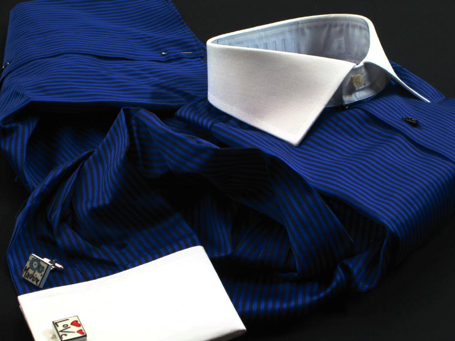 ★イタリアシャツDANROMAクレリック ダブルカフス NAMUR BLU コットンを超えたコットン誘惑の光沢 ♬~ 41-93 L_画像1
