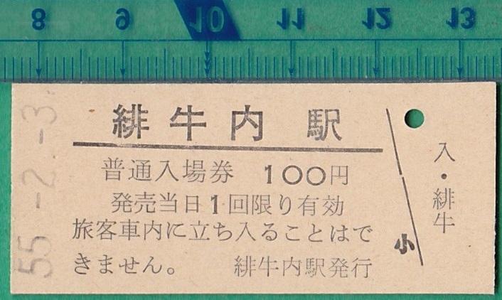 鉄道硬券切符67■普通入場券 緋牛内駅 100円 55-2.3