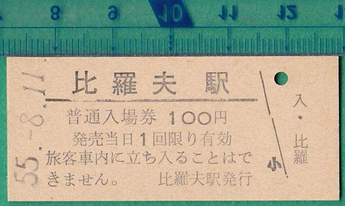 鉄道硬券切符115■普通入場券 比羅夫駅 100円 55-8.11
