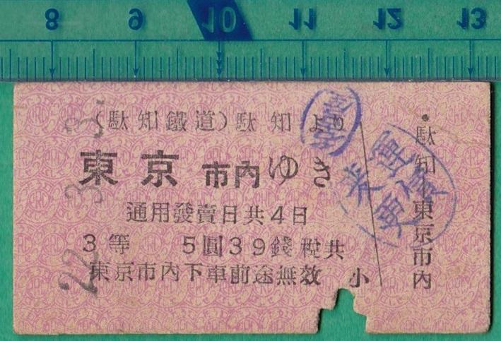 鉄道硬券切符27■駄知鉄道 駄知より東京市内ゆき 22-3.3 *裏面地図式
