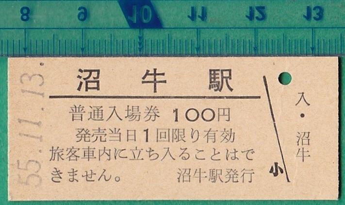 鉄道硬券切符129■普通入場券 沼牛駅 100円 55-11.13