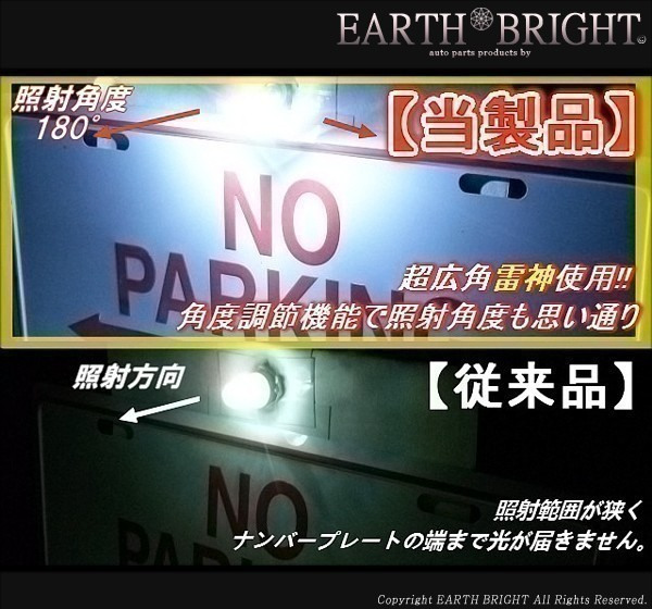 2球)♭†日亜雷神ナンバー灯 全車種対応型 角度調整式 LED シビック インサイト N-WGNカスタム_画像3