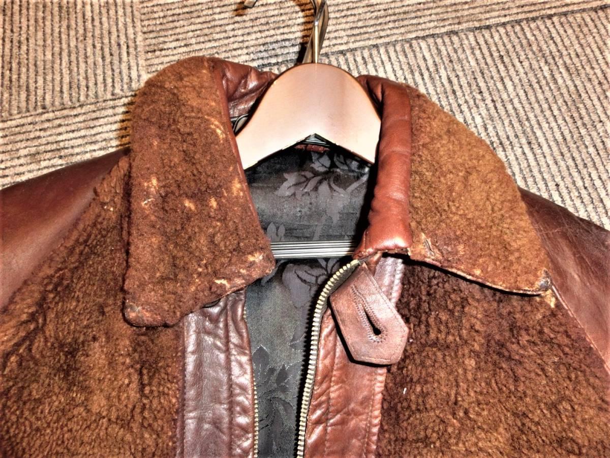 希少ビンテージ30s40sハトメ30年代40年代グリズリージャケット熊ジャン 当時物チンスト付きオリジナル馬革ホースハイド/ホースレザー1930s_画像2