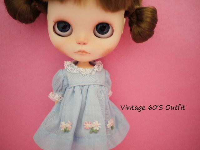 ヴィンテージペッパーサイズ*ブルースモッグドレス 花モチーフ
