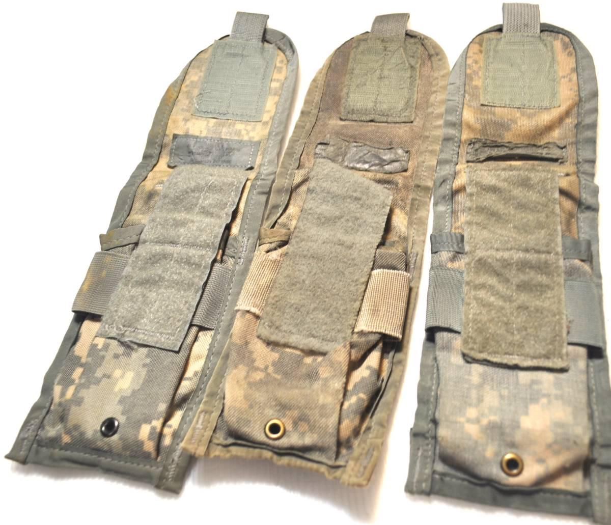 実物 US ARMY 米軍放出品 ACU デジタル迷彩 MOLLE M4 M16 HK416シリーズ用 ダブルマガジンポーチ 3つ 中古 Aca_画像2
