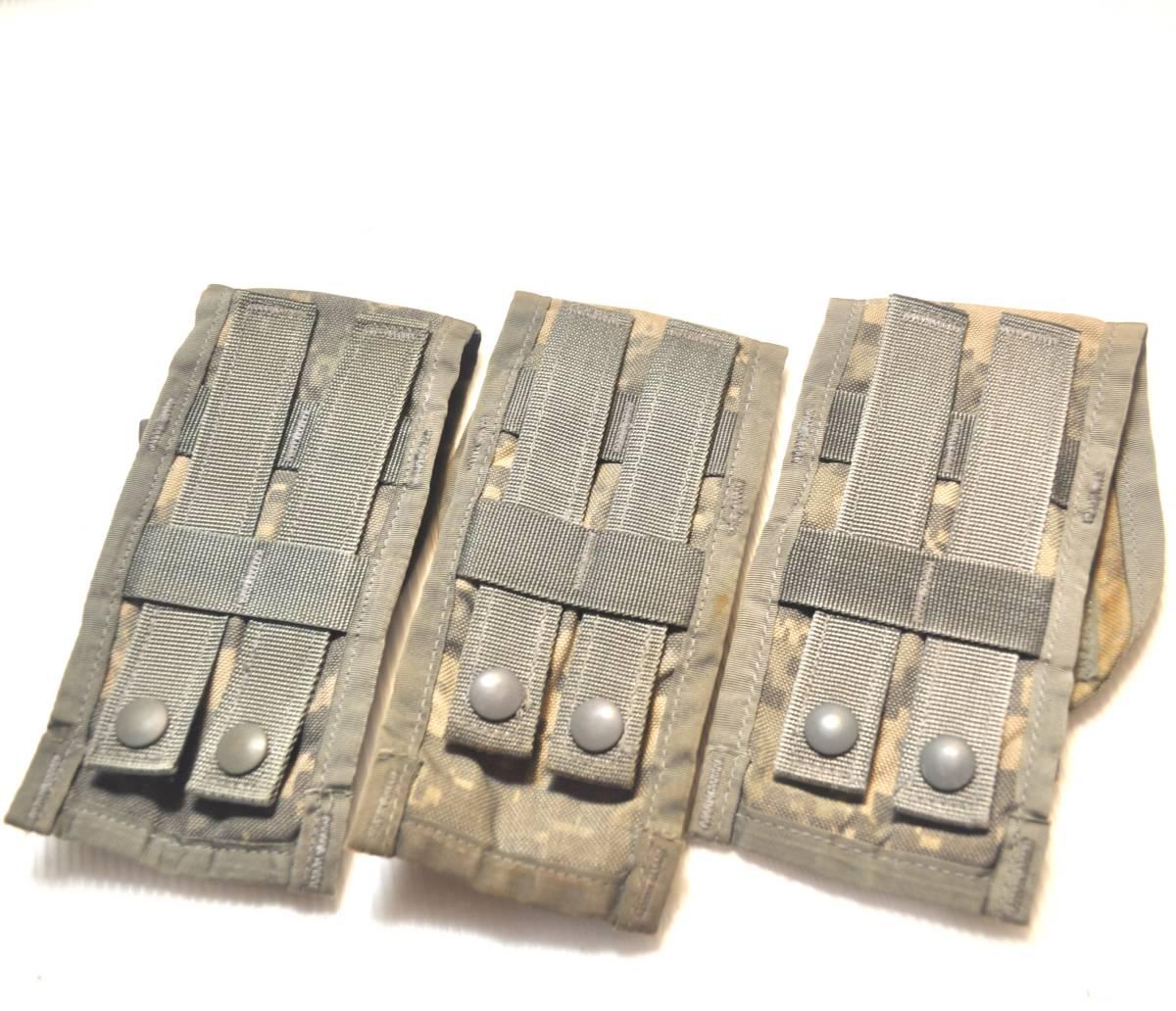 実物 US ARMY 米軍放出品 ACU デジタル迷彩 MOLLE M4 M16 HK416シリーズ用 ダブルマガジンポーチ 3つ 中古 A_画像2