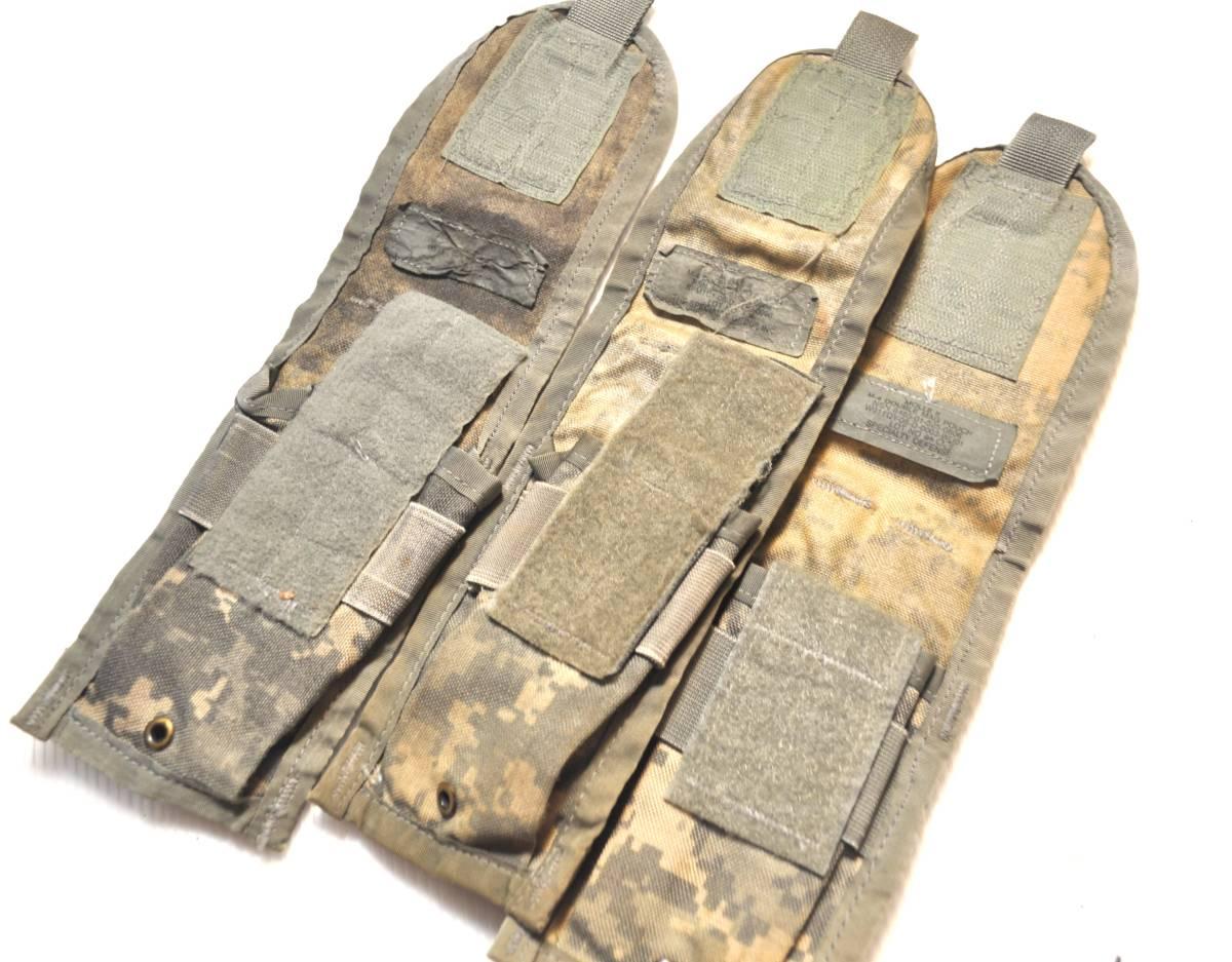 実物 US ARMY 米軍放出品 ACU デジタル迷彩 MOLLE M4 M16 HK416シリーズ用 ダブルマガジンポーチ 3つ 中古 A_画像3