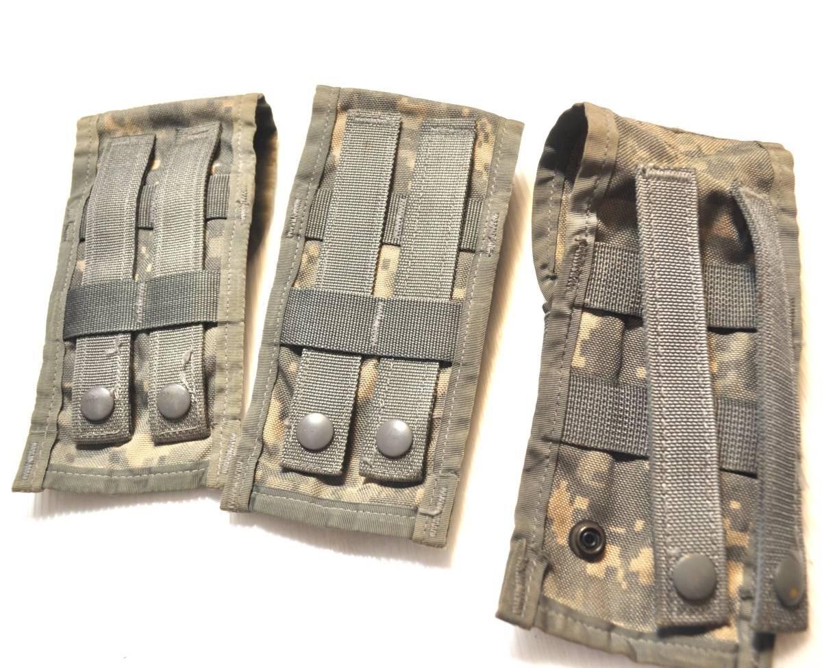 実物 US ARMY 米軍放出品 ACU デジタル迷彩 MOLLE M4 M16 HK416シリーズ用 ダブルマガジンポーチ 3つ 中古 Ac_画像4