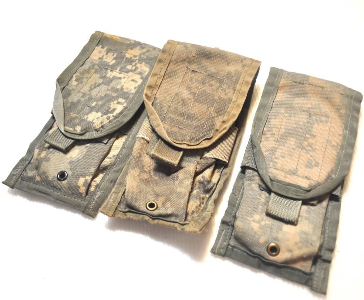 実物 US ARMY 米軍放出品 ACU デジタル迷彩 MOLLE M4 M16 HK416シリーズ用 ダブルマガジンポーチ 3つ 中古 Aca_画像1