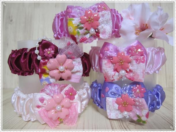 【送料無料】桜さくら トリミングシュシュネックレス【Sサイズ】女の子カラー5本セット_画像2
