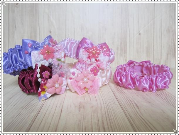 【送料無料】桜さくら トリミングシュシュネックレス【Sサイズ】女の子カラー5本セット_画像3