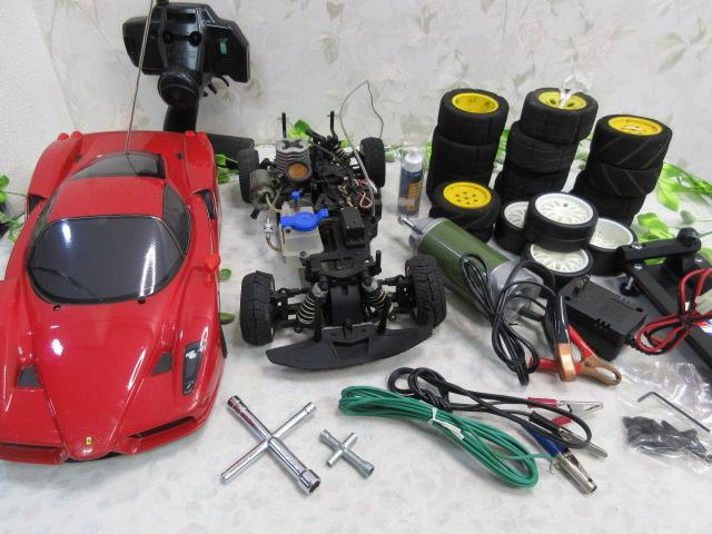 USED&ジャンク品【み516・14】 大量!! ラジコン部品 オイル・タイヤ・部品など30点まとめて フェラーリ&プロポセット付