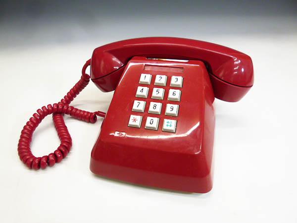 ◆昭和レトロ ダイヤル電話型 プッシュホン 赤電話 NY 84 601-P 実用 コレクション 撮影小道具 昭和レトロポップなお部屋等にも!
