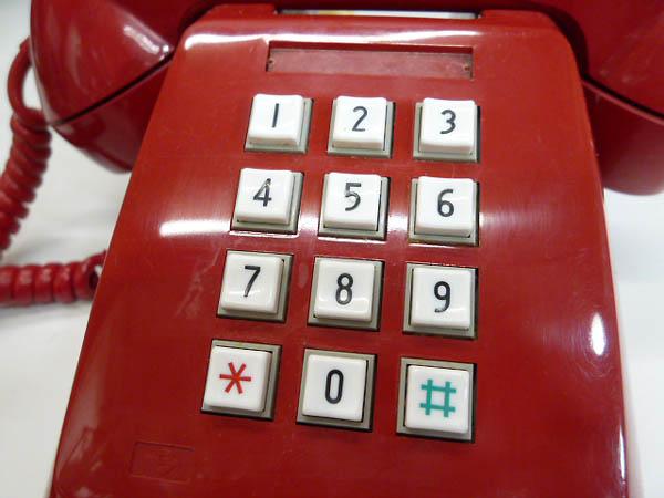 ◆昭和レトロ ダイヤル電話型 プッシュホン 赤電話 NY 84 601-P 実用 コレクション 撮影小道具 昭和レトロポップなお部屋等にも!_画像7