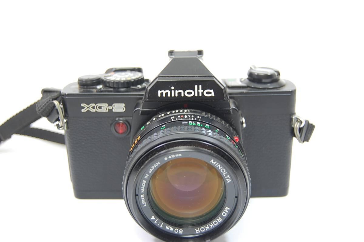 MINOLTA  XG-Sブラックボディ+MD ROKKOR 50mm 1:1.4 前キャップつき/レトロ*アンティーク*ビンテージ*レア_画像2
