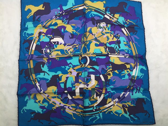HERMES★エルメス 100%シルク スカーフ★EX-Libris en Camouflage エクスリブリス カモフラージュ★青 ブルー系★馬柄★100円~★送料無料
