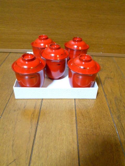 漆器 根来塗 木製 小吸物碗 蓋付 5客 美品 紙箱 180313_画像1