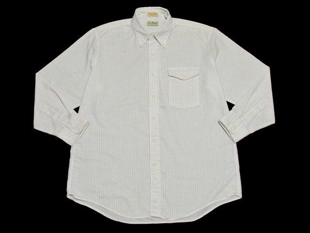【即決/送込】USA製 90's L.L.Bean エルエルビーン ボタンダウン 長袖 オックスフォード OXFORD ストライプ シャツ 16 1/2-33 片ポケ 美品