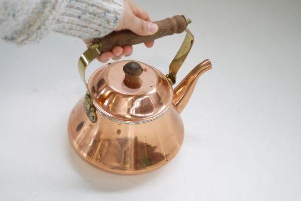 KT380 銅製ケトル 約1.3リットル 銅ヤカン ■薬缶/やかん/レトロ/ビンテージ/カフェ/ディスプレイ/湯沸_画像3