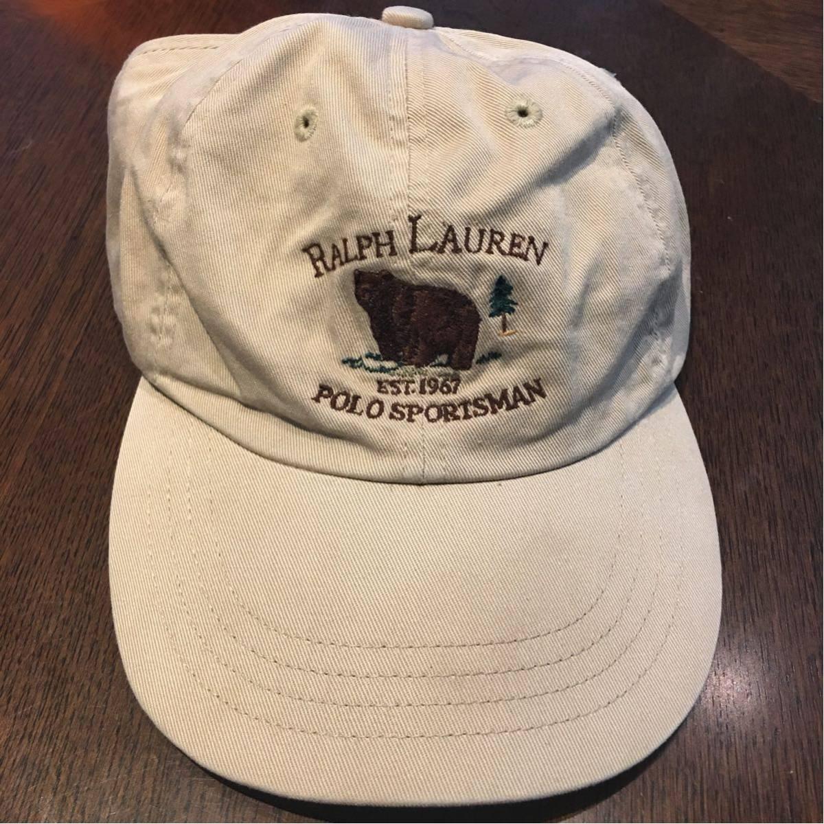 3a612c362b9db ultra rare Polo Ralph Lauren Logo cap Bear 1992 p wing cap stadium snow  beach sport